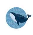 blue whale diving ocean sea tshirt print vector image vector image
