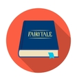 Book with fairytales icon in flat style isolated