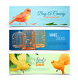 canary and birdcages banners set vector image