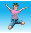 cartoon funny guy enthusiastically jumps vector image vector image