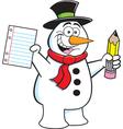 Cartoon Snowman Student vector image vector image