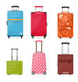 cartoon travel suitcase color set vector image vector image