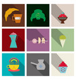coffee color drawn collection sketch set with vector image vector image