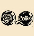 coffee hand draw circle logo with vector image vector image