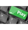 Computer keyboard with play key - technology vector image vector image