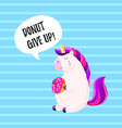 cute cartoon unicorn with donut template vector image vector image