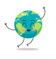 cute earth character waving hand cartoon mascot vector image