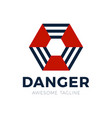 danger radiation hexagon logo filled radiation vector image