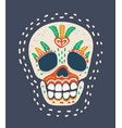 day of the dead colorful skull vector image