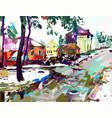 digital painting artwork village winter vector image