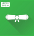 diploma rolled scroll icon business concept vector image vector image