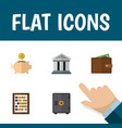flat icon finance set of money box strongbox vector image vector image