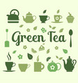 green tea set icons on green background vector image