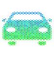 halftone blue-green car icon vector image vector image