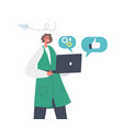 happy businesswoman character holding laptop vector image