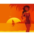 Heat beach girl vector image