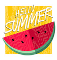 Hello summer happy poster design with watermelon vector image