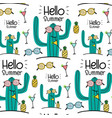 hello summer pattern background vector image