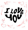 I love words in shape of heart vector image
