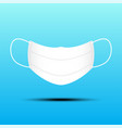 isolated white surgical mask on blue background vector image vector image
