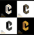 isometric set letter c black white gold palette vector image