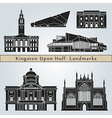 Kingston Upon Hull landmarks and monuments vector image vector image