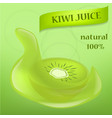 kiwi fruit food slice banner realistic style vector image vector image