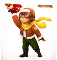 little pilot with toy airplane comic character 3d vector image