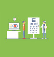 male patient at ophthalmologist doctors vector image vector image