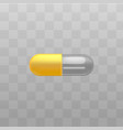 medical drug yellow and transparent capsules vector image vector image