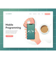 mobile programming concept modern design concept vector image vector image