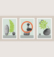 natural abstract botanical art set with stones vector image