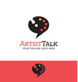 paint palette talk bubble logo vector image vector image