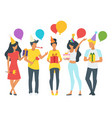 people holding birthday presents vector image vector image