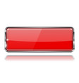 red glass 3d button with metal frame rectangle vector image