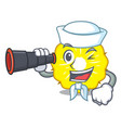sailor with binocular pineapple slice fruit vector image vector image