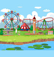 scene background design with rides at carnival vector image