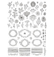 set hand drawn doodle flowers florals vector image vector image