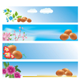 set of blue banners with easter theme vector image vector image