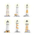 Set of cartoon flat isolated lighthouses