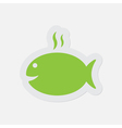 simple green icon - grilling fish with smoke vector image vector image