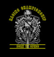 skull motorcycle racing hand drawing hand vector image