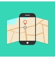 smartphone with opened map isolated on green vector image vector image