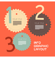 Three Steps Retro Paper Infographics Flat Design vector image vector image