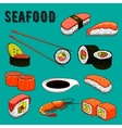 Traditional japanese seafood sushi icon vector image vector image