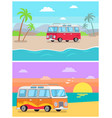 trailer transport at seaside collection of images vector image
