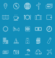 Travel line icons on blue background vector image vector image