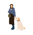 trendy woman with dog female walking with animal vector image