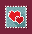 two heart linear stamp vector image