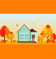 village house in autumn season background vector image vector image